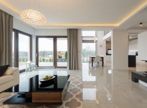 salon biały sufit